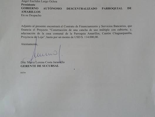 FIRMA DEL CONVENIO ENTRE EL GAD AMARILLOS Y EL BANCO DE DESARROLLO.