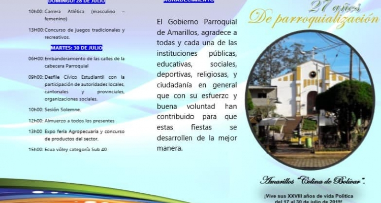 INVITACIÓN A CELEBRAR JUNTOS LOS 27 AÑOS DE VIDA POLÍTICA DE NUESTRA PARROQUÍA